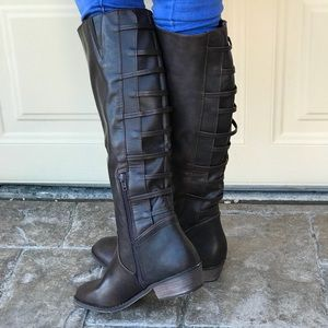 BIB Chocolate Rust Knee High Riding Boots